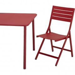 Table de jardin rectangulaire en métal rouge L160 cm - VITOR 875