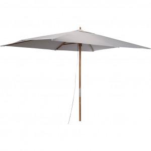 Parasol rectangulaire droit en tissu gris et pied en bois  - VALLORIA 728