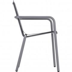 Vue de côté - Chaise de jardin empilable en aluminium avec accoudoirs gris - CENOZA 582