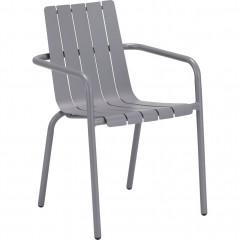 Vue d'angle - Chaise de jardin empilable en aluminium avec accoudoirs gris - CENOZA 582