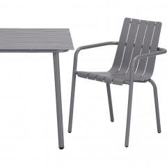 Vue table et chaise - Chaise de jardin empilable en aluminium avec accoudoirs gris - CENOZA 582
