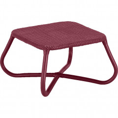 Table basse de jardin carrée en rotin rouge - vue de côté - GERA 102