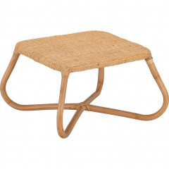 Table basse de jardin carrée en rotin coloris naturel - vue de côté - GERA 089