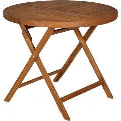 Table de jardin pour ronde pliante en acacia D90 cm - vue en angle - YOUK 686