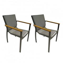 Lot de 2 chaises de jardin en métal & accoudoirs en teck - SAMOS