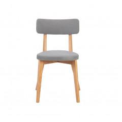 Chaise grise en tissu et pied en bois - AMEDEE 389