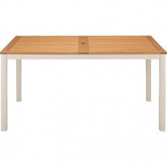 Table de jardin plateau en bois et pied métal blanc - vue de face - DOLE 879