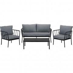 Ensemble 4 pièces - salon de jardin en aluminium gris anthracite - OLMETO 389