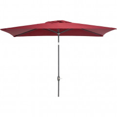 Parasol avec mat inclinable et manivelle 2x3m rouge - MUY 507