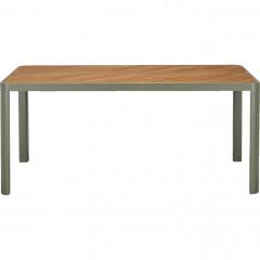 Table de jardin plateau en bois et pied métal blanc - ALEP 865