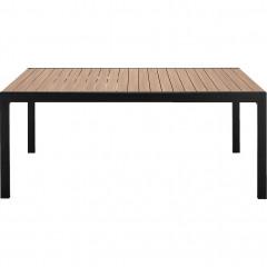 Table de jardin teck en aluminium noir L181cm - VERDON 284
