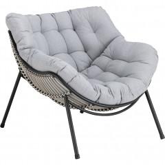 Fauteuil de jardin relax avec coussin gris - IBIZA 127
