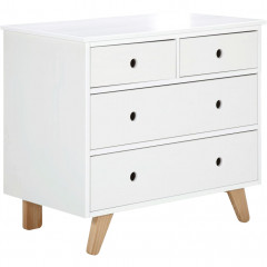 Commode 4 tiroirs blanc en bois massif - TITI 951