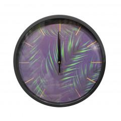 Horloge ronde 30 cm avec cadran violet à aiguilles et visuel végétal -vue d'ensemble - CLICKY