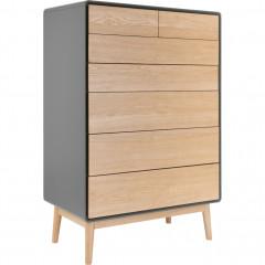 Chiffonnier 6 tiroirs gris et bois de chêne clair - VERDET 381
