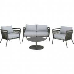 Salon jardin 4 pièces en aluminium vert et cordage - vue de face - MARIBEL 480