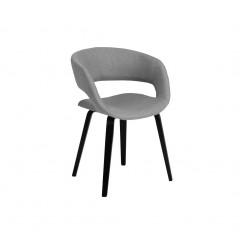 Chaise en tissus gris et bois métal noir - vue de côté - JOYAU 679