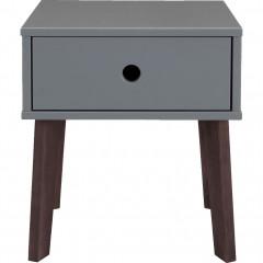 Table de chevet en bois plaqué gris avec tiroir - SACHA 324