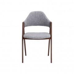 Chaise en tissu gris clair pieds en acier imitation bois - GONZAGUE 266