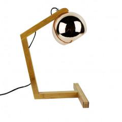 Vue de côté - Lampe à poser en bois & couleur cuivre - GLOBE