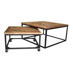 Ensemble de 2 tables basses gigognes en teck et en métal - ZIG ZAG