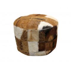 Pouf rond patchwork peau de chèvre robuste & design - BIQUETTE