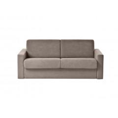 Canapé 2 places convertible 140 cm en tissu microfibre taupe - vue de face – MILAN