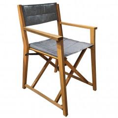 Vue d'angle - Chaise de jardin metteur en scène en tissu gris et bois clair  - ALASSIO 305