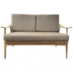 Canapé de jardin 2 places en teck et tissu gris - GAFO 385