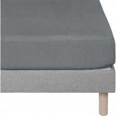 Drap housse en lin gris anthracite 90x200 - VENCE