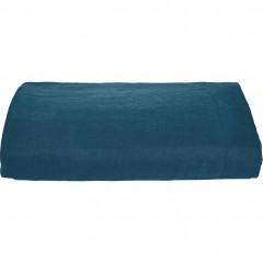 Drap plat en lin 270x230cm - coloris bleu - VENCE