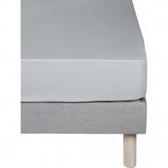 Drap-housse en coton 160x200cm bonnet 30 cm - coloris gris - CALANQUES