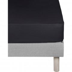 Drap-housse en coton 160x200cm bonnet 25 cm - coloris noir - CALANQUES