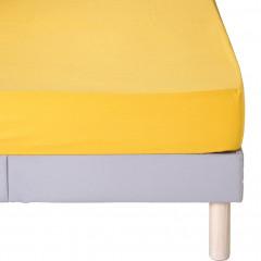Drap-housse en coton 140x200cm bonnet 25 cm - coloris jaune - CALANQUES