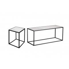 Set de 2 table en métal et plateaux céramiques réversibles - LIVORNO