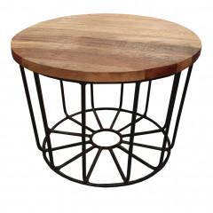 Vue de dessus - Table basse ronde avec piètement en métal noir et plateau fixe en bois exotiques recyclés D50 cm - KETA