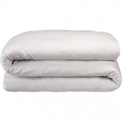 Housse de couette rayée en satin de coton 240x220cm - coloris blanc - SANTIS