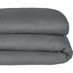 Vue de face - Housse de couette en lin 140x200cm gris - VENCE 806
