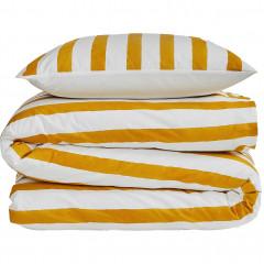 Parure de lit en coton 240x220cm et 2 taies oreiller 63x63 cm rayé jaune - SINTRA 484