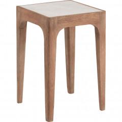 Bout de canapé carré en manguier et marbre - vue d'angle - MEJEAN 169