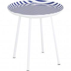 Bout de canapé en acier émaillé à rayure bleu - vue de profil -VITOUR 273
