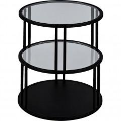 Bout de canapé rond verre et métal noir D45cm - vue de face - HENU 967