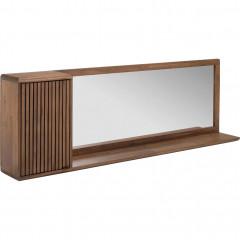 Meuble étagère miroir en acacia 150x20x50 cm - vue d'angle -LOUVANS 702