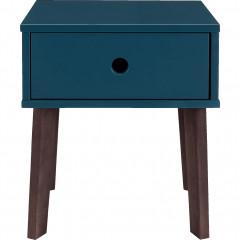 Table de chevet en bois plaqué - bleu figuerolles- vue de face - SACHA 287