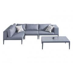 Ensemble 2 pièces - canapé d'angle et table basse en métal gris anthracite - ATOLL