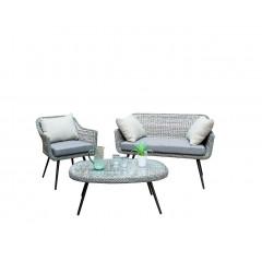 Ensemble 3 pièces - Salon de jardin imitation rotin et coussins gris - COOK