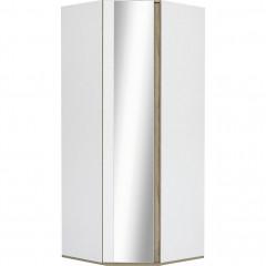 Armoire dressing d'angle avec 1 porte effet chêne - blanc- vue de face - NESTOR 491