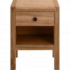 Table de chevet en acacia massif 1 tiroir - vue de face - GAIA 940