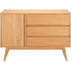 Commode 3 tiroirs et 1 porte en plaqué chêne - BRUNA 706