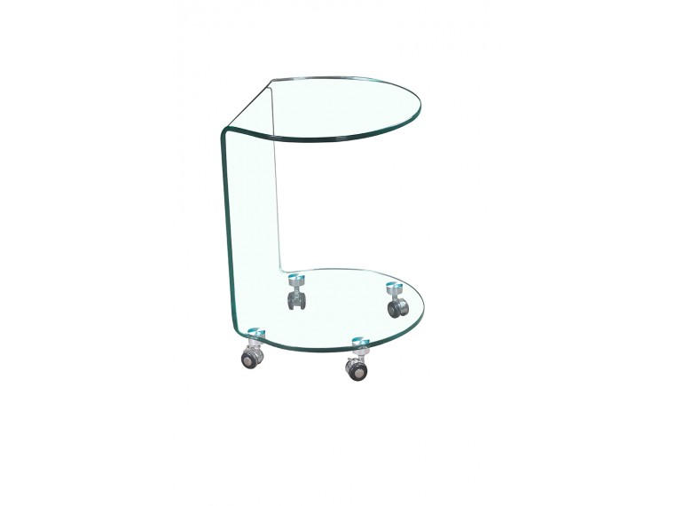 Bout de canape rond en verre tremp bent belhome for Table bout de canape en verre